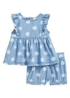 Little Me Polka Dot Chambray Top & Shorts Set (Baby)