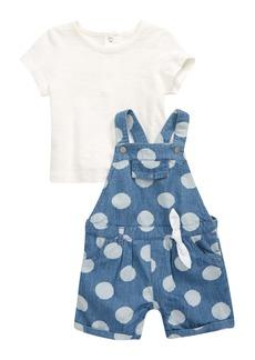 Little Me Polka Dot Shirt & Shortalls Set (Baby)