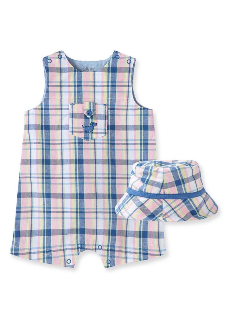 Little Me Puppy Plaid Romper & Hat Set (Baby)