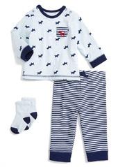 Little Me Puppy Print T-Shirt, Pants & Socks Set (Baby Boys)