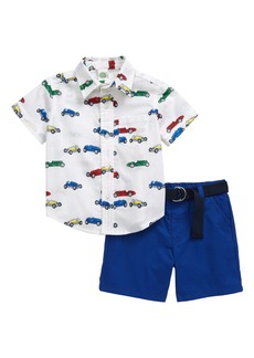 Little Me Retro Cars Button-Up Shirt & Shorts Set (Baby)