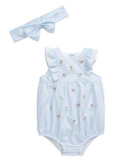 Little Me Rosebud Bubble Romper & Head Wrap Set (Baby)