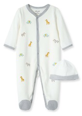 Little Me Safari Schiffli Embroidery Footie & Hat Set (Baby)