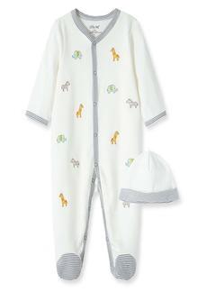 Little Me Safari Schiffli Embroidery Footie & Hat Set (Baby)