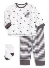 Little Me Safari T-Shirt, Jogger Pants & Socks Set (Baby Boys)