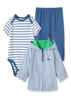 Little Me Sailboat Bodysuit, Pants & Jacket Set (Baby)
