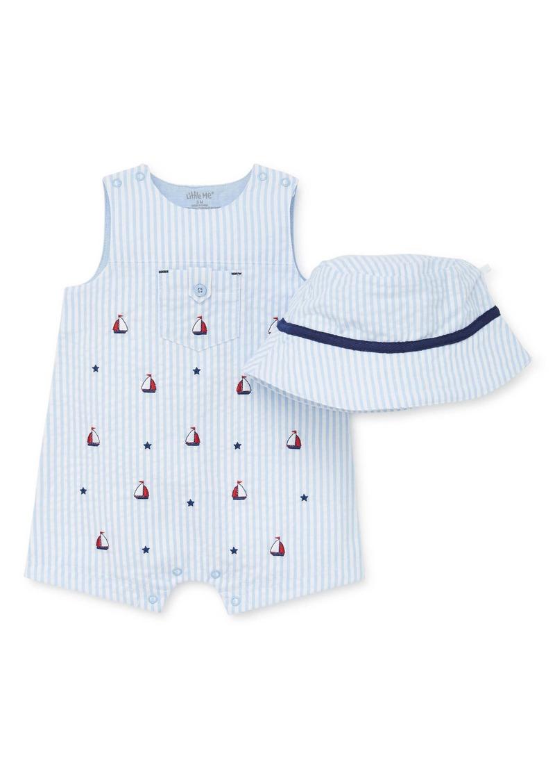 Little Me Sailboat Stripe Romper & Hat Set (Baby)