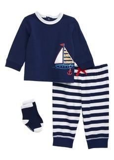 Little Me Sailboat T-Shirt, Pants & Socks Set (Baby)