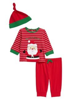 Little Me Santa Top, Joggers & Hat Set (Baby)