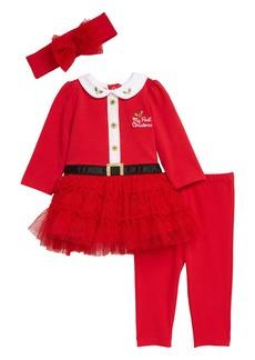 Little Me Santa Tutu Dress, Leggings & Headband Set (Baby)