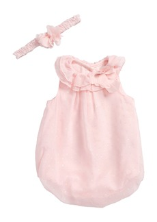 Little Me Sparkle Bubble Romper & Headband Set (Baby Girls)