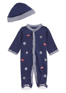 Little Me Sports Footie & Hat Set (Baby Boys)