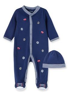 Little Me Sports Schiffli Embroidery Footie & Hat Set (Baby)