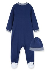 Little Me Sports Schiffli Embroidery Footie & Hat Set (Baby)