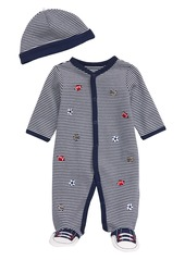 Little Me Sports Stripe Footie & Hat Set (Baby)