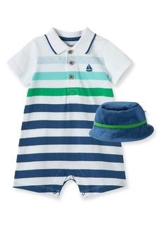 Little Me Stripe Boat Polo Romper & Hat Set (Baby)
