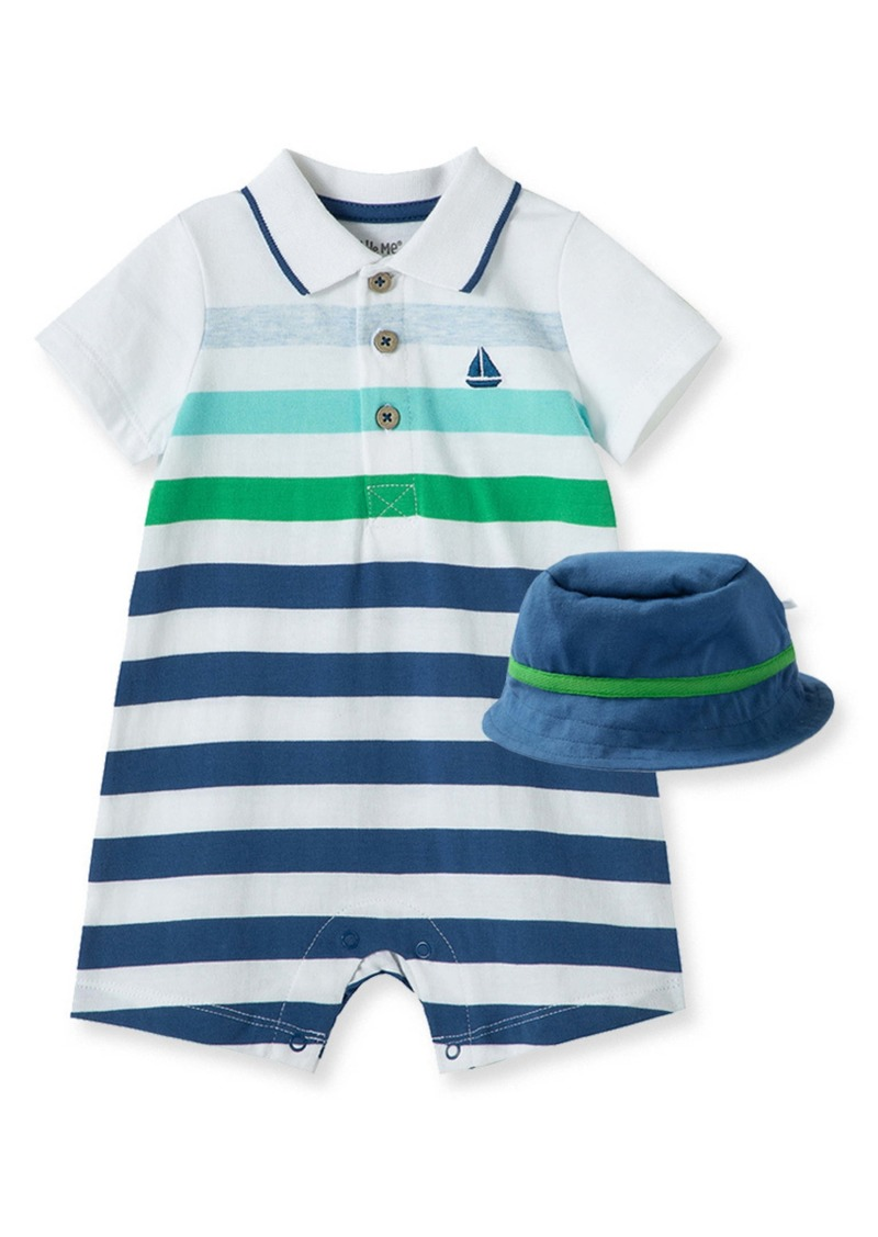 Little Me Stripe Boat Polo Romper & Hat Set (Baby)