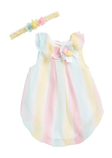 Little Me Stripe Bubble Romper & Head Wrap Set (Baby Girls)