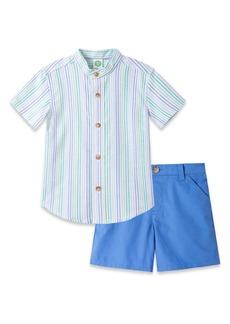 Little Me Stripe Woven Shirt & Shorts Set (Baby)