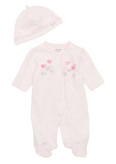 Little Me Sweetheart Footie & Matching Cap (Baby Girls)