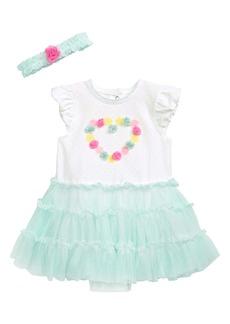 Little Me Sweetheart Tutu Bodysuit Dress & Headband Set (Baby)