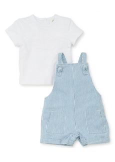 Little Me T-Shirt & Stripe Shortalls Set (Baby)