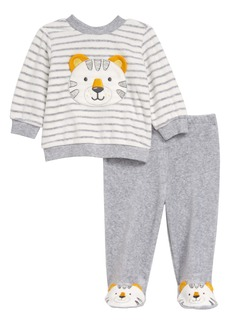 Little Me Tiger Velour Patch Sweatshirt & Footed Pants Set (Baby)