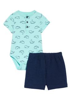 Little Me Whale Henley Bodysuit & Shorts Set (Baby)