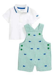 Little Me Whale Polo & Seersucker Shortalls Set (Baby)