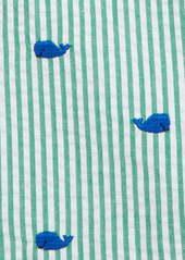 Little Me Whale Polo & Seersucker Shortalls Set (Baby)