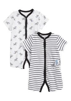Little Me Zebra 2-Pack Rompers (Baby Boys)