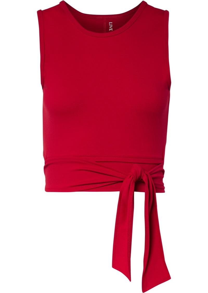 Ballet Cropped Tie-front Stretch-supplex Top
