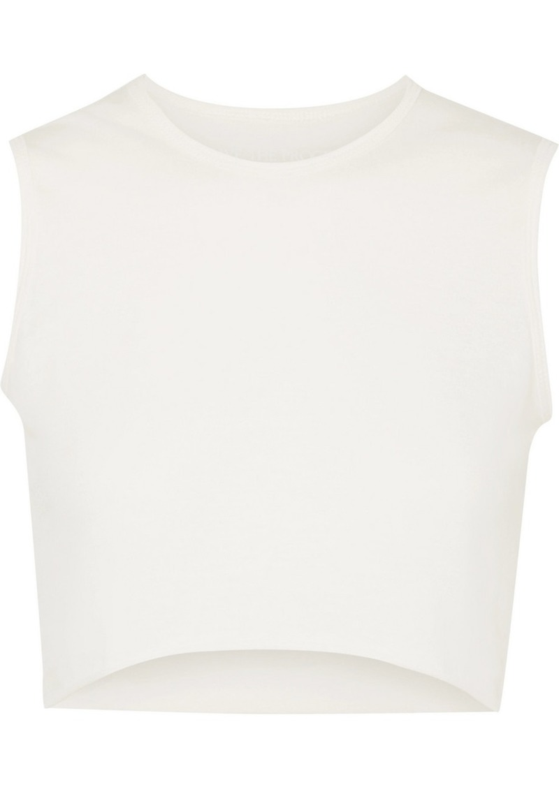 Live The Process Cropped Cotton And Cashmere-blend Top