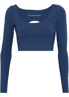 Live The Process Woman Transcend Cropped Cutout Stretch-jersey Top Cobalt Blue