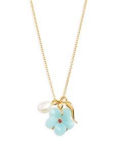 Women's Lizzie Fortunato Blue Daisy Oasis Charm Necklace