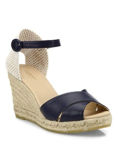 L.K. Bennett Angeles Tumbled Leather Espadrille Wedge Sandals