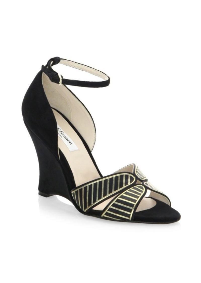 973dc673b6f L.K. Bennett Buckled Velvet Wedge Sandals