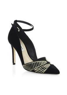L.K. Bennett Open Court Velvet Ankle-Strap Pumps