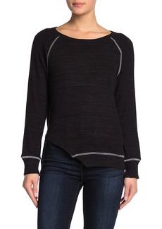LnA Contrast Stitch Asymmetrical Hem Shirt