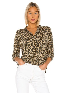 LNA Brushed Leopard Zip Collar Pullover