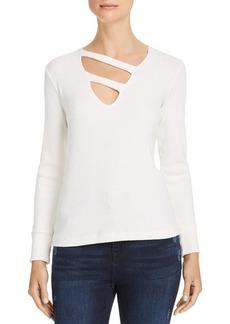 LNA Kindred Asymmetrical-Strap Slub-Knit Sweater