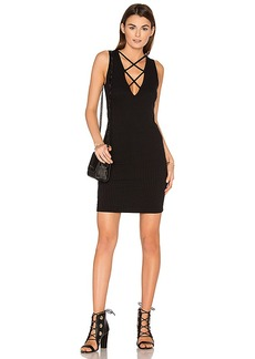 LNA Lace Up V Dress in Black. - size L (also in S,XS,M)