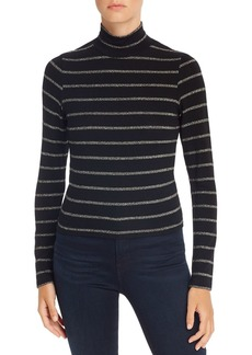 LNA Metallic-Stripe Turtleneck Top