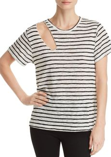 LNA Reina Shoulder-Cutout Striped Slub Tee