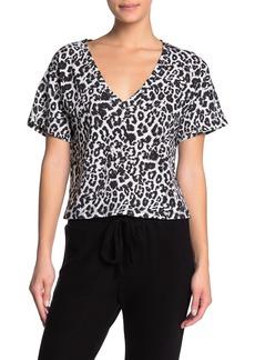 LnA Short Sleeve Leopard V-Neck Shirt