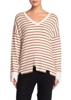 LnA Stripe Distressed V-Neck Sweater