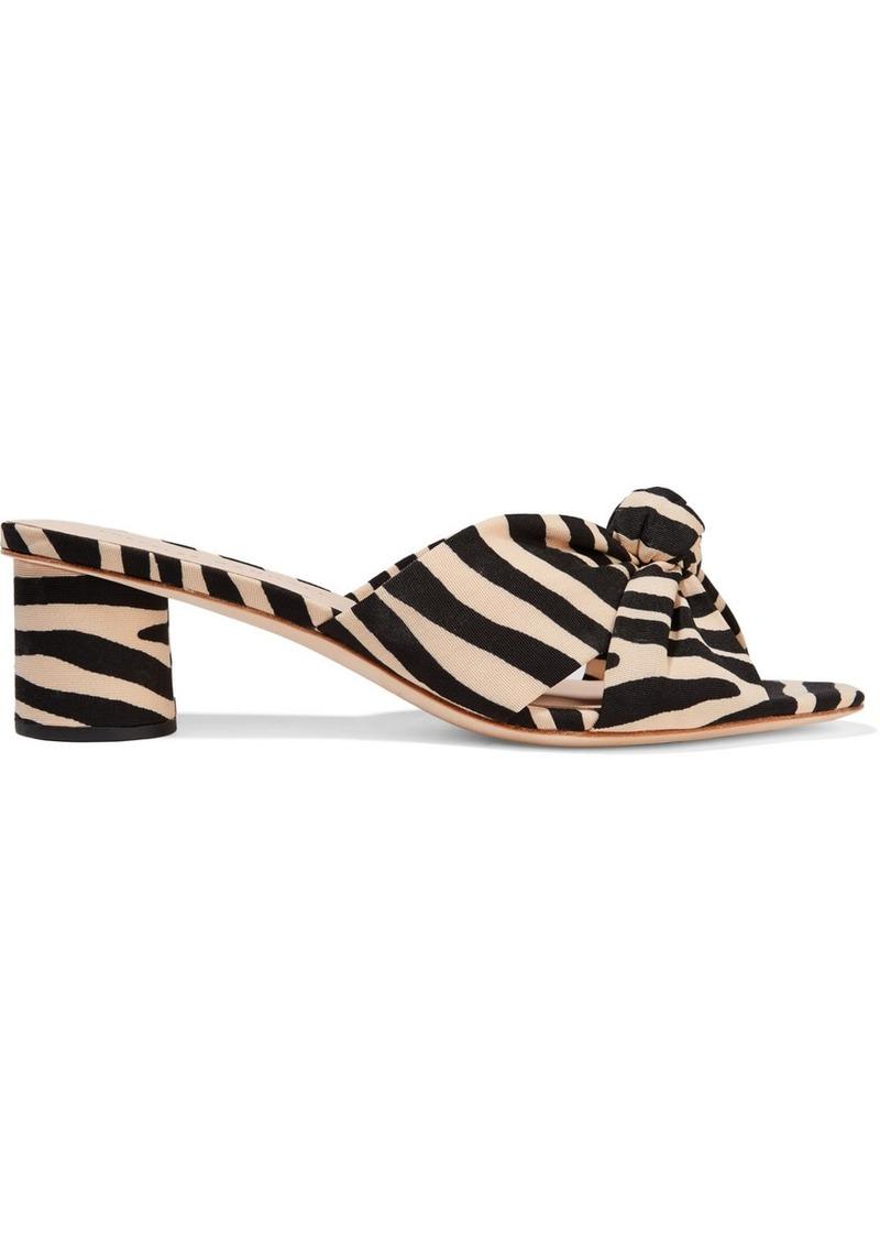 Loeffler Randall Celeste Knotted Zebra-print Twill Mules