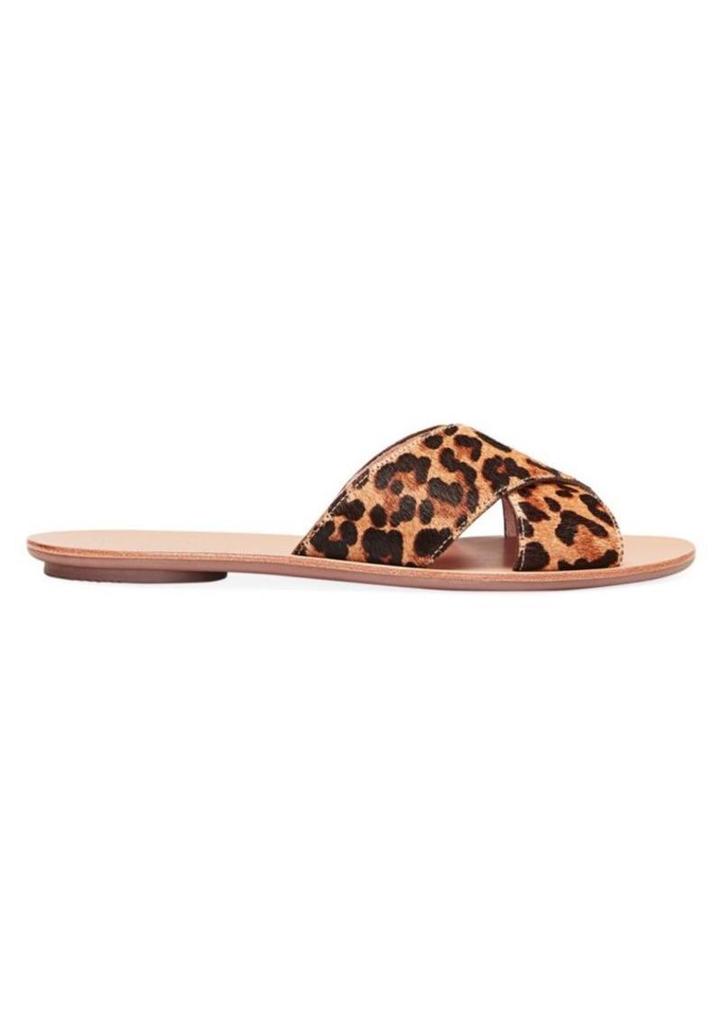Loeffler Randall Claudie Flat Leopard-Print Calf Hair Sandals