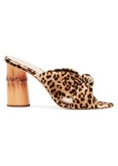 Loeffler Randall Coco Knotted Leopard-Print Slides