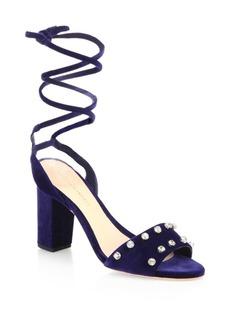 Loeffler Randall Elayna Studded Velvet Ankle Wrap Sandals